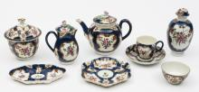 A Worcester (First Period) part tea and coffee service: painted with floral