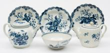 A group of Worcester First Period blue and white decorated porcelain: compr