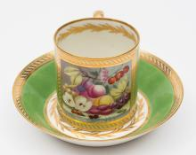 A Derby coffee can and saucer: finely painted in the manner of John Brewer
