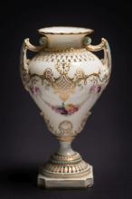 A fine Royal Worcester two-handled reticulated and 'jewelled' vase by Georg