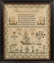 A 19th century family group of three samplers: worked in coloured silks of