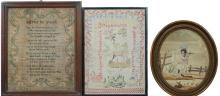 A George III silk work sampler: the central verse 'Advice to Youth' enclose