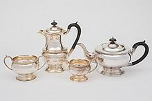 A George VI silver four piece tea service, maker