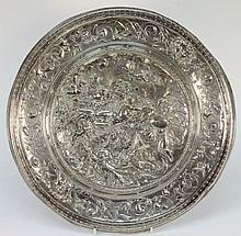 An Elkington plated circular plaque: after Leonard