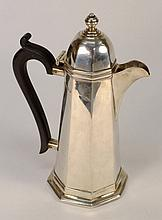 A George V silver coffee pot, maker S B & S Ltd,