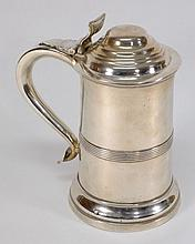A Sheffield Plate tankard: of cylindrical outline,