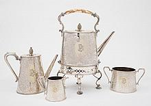 A Victorian four piece plated tea service :