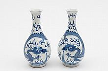 A pair of Chinese blue and white bottle vases: