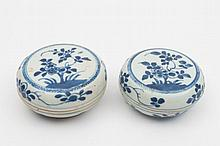 A pair of Chinese porcelain boxes and covers from