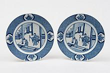 A pair of Chinese blue and white plates: each