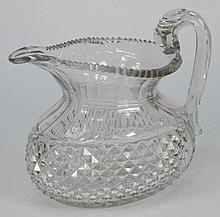 A Regency cut glass water jug, probably Irish: of