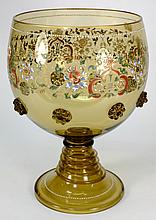 A large Continental painted and enamelled glass