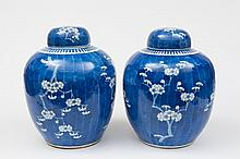 A pair of large Chinese ovoid jars and covers: