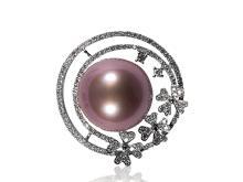 Natural purple pearl diamond pendant
