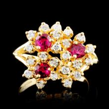 14K Gold 0.88ct Ruby & 0.41ctw Diamond Ring