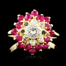 14K Gold 0.49ctw Ruby & 0.61ctw Diamond Ring