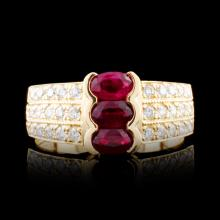 14K Gold 1.35ct Ruby & 0.54ctw Diamond Ring