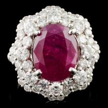 18K Gold 6.92ct Ruby & 2.05ctw Diamond Ring