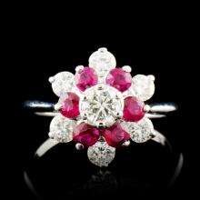 14K Gold 0.38ct Ruby & 0.56ctw Diamond Ring