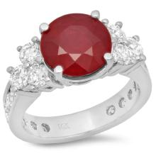 14K Gold 5.00ct Ruby & 1.80ct Diamond Ring