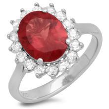 14K Gold 2.50ct Ruby & 0.50ct Diamond Ring
