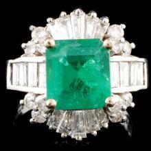 14K Gold 2.45ct Emerald & 1.54ctw Diamond Ring