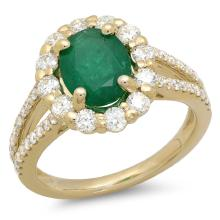 14K Gold 1.50ct Emerald & 1.00ct Diamond Ring