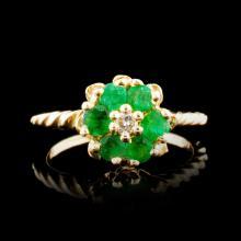 14K Gold 0.60ctw Emerald & 0.03ctw Diamond Ring