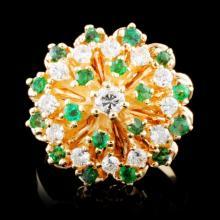 14K Gold 0.61ctw Emerald & 0.28ctw Diamond Ring