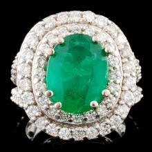 14K Gold 3.69ct Emerald & 2.32ctw Diamond Ring