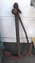 A wrought iron ship's anchor, early/mid 19th century, of typical form, 105cm high.