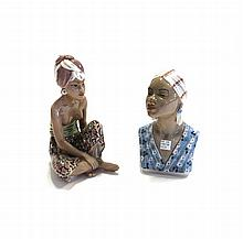 A Dahl Jensen Copenhagen figure, 'Bali Woman' no.1136, green printed marks, 21cm high, together with another Copenhagen bust of an African female, no.1211, green printed marks. (2)