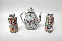 A group of Chinese famille-rose porcelain, Qianlong and later, comprising; a pair of small Canton cylindrical vases painted with panels of figures, birds in branches and insects, 15cm. high; a coffee pot and cover and two coffee cups and saucers