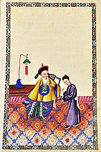 An album of eight Chinese paintings on rice paper, 19th century, each painted with a figure seated with attendant, (a.f), 32cm. by 19.5cm.  Illustrated