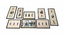 A group of twenty one Chinese rice paper paintings, 19th century, mounted in two's and three's, painted with figure subjects, largest 15cm. by 14cm., framed and glazed.
