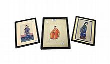 A group nine Chinese rice paper paintings of single figures, 19th century, largest 23.5cm. by 17 cm., framed and glazed; and two painted on leaves, (11).