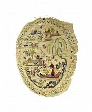 A Chinese silk embroidered panel, 19th century, of oval form, worked with a river landscape scene with a figure on a punt, another figure seated on a terrace, birds, trees and buildings inside a floral border, (a.f), 67cm. by 56cm.