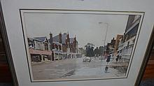 John Yardley (b.1933), Street scene in rain, watercolour, signed and dated 1979, 31cm x 45cm.; together with a copy of 'John Yardley: As I see it', book by Steve Hall.(1 & book) DDS