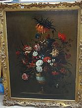 Follower of Jean Baptiste Blin de Fontenay, Floral still life, oil on canvas, 108cm x 80cm.  Illustrated