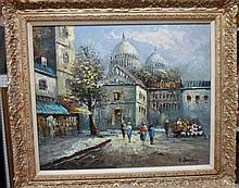 Caroline Burnett (20th century), Paris Street scene near the Sacre Coeur, oil on canvas, signed, 49cm x 59cm. DDS