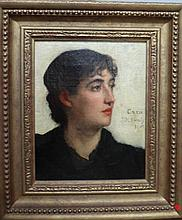 Jane M. Dealy (1880-1931), Head study of a lady, oil on canvas, signed and dated 1883, 26cm x 20cm.