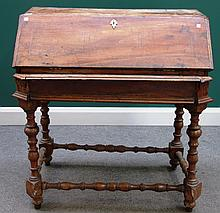 A late 17th century Italian inlaid walnut bureau on stand, with welled interior and turned supports (a.f.), 93cm wide.