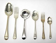 A silver bead edged single struck Old English pattern part table service, comprising; twenty-two tablespoons, seventeen table forks, twelve dessert spoons, four sauce ladles, twelve dessert forks and twelve teaspoons, all London 1933, also an