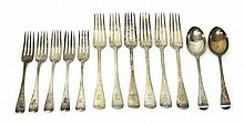 Silver Old English pattern table flatware, comprising; six table forks, London 1903, five dessert forks, London 1903 and two dessert spoons, London 1903, combined weight 710 gms.