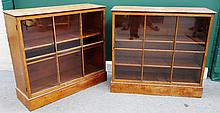 A pair of made up early 19th century satinwood glazed bookcases on plinth bases, each 96cm wide.