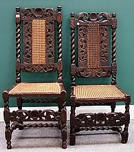 Two similar 17th century stained beech side chairs with barley-twist supports. (2)