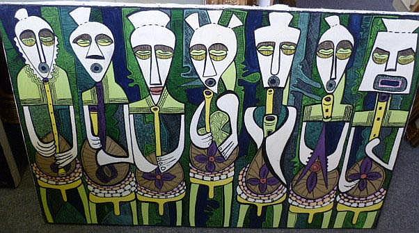 Emmanuel Ekong Ekefrey (b.1952), African masks,