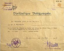 VORLÄUFIGES BESITZZEUGNIS ZUM Eisernes Kreuz 2. Klasse 1914