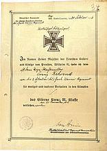 VORLÄUFIGES BESITZZEUGNIS Eisernes Kreuz 2. Klasse 1914