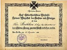 VORLÄUFIGER AUSWEIS ZUM Eisernes Kreuz 2. Klasse 1914